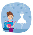 girl with sewing machine vector image