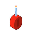 0 number and candles for birthday zero figure for vector image vector image