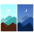abstract flat mountain landscape daytime night vector image vector image