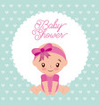 baby shower girl with diadem bow pink design vector image vector image