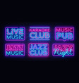 big collection live music neon signs jazz vector image vector image