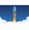 bitcoin cryptocurrency concept rocket flying to vector image vector image