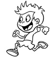 black and white boy run vector image vector image
