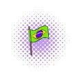 Brazil flag icon comics style vector image vector image