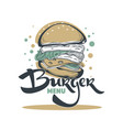 burger menu hand drawn sketch with lettering vector image vector image
