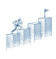 businessman running up stairs man walking vector image