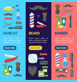 cartoon barbershop shop banner vecrtical set vector image vector image