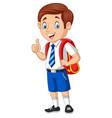 cartoon happy school boy in uniform giving a thumb vector image vector image
