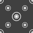 cogwheel icon sign Seamless pattern on a gray vector image vector image