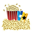 color background with butter popcorn container and vector image vector image