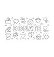 donate outline horizontal vector image vector image