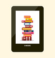 e-book reader e-reader device with books on vector image