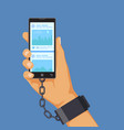 gadgets addiction concept hand shackled to vector image