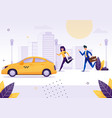 girl and businessman running to get yellow taxi vector image vector image