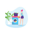 girl washing clothes vector image