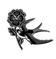 graphic swallow carrying flower vector image vector image