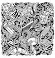 hair salon hand drawn doodles vector image