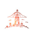 hand drawn hero man over big city vector image