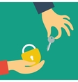 Hand holds the key in the other hand lock vector image