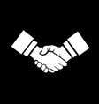 handshake isolated on black vector image vector image