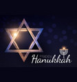 happy hanukkah shining background with menorah vector image