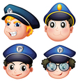 Head of four cops vector image vector image
