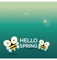 Hello spring cartoon cute bright baby bee icon vector image