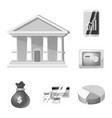 isolated object bank and money logo set of vector image