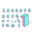 Isometric numbers isolated vector image vector image