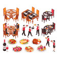 isometric restaurant constructor set vector image