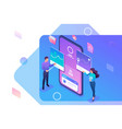 isometric young people stand near mobile phone vector image vector image