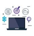 laptop with business set icons vector image vector image