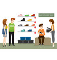 mens shoes shop with saleswoman and customers vector image vector image