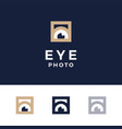 modern professional logo photos eyes on blue vector image vector image