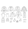 Outline mens clothing collection vector image vector image