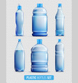 plastic bottles transparent icon set vector image