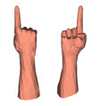 pointing up direction low poly hand vector image vector image