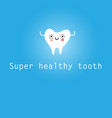 poster a cheerful healthy tooth cartoon vector image vector image