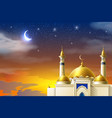 realistic muslim mosque night moon star sky vector image