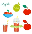 Red apple fruit and juice set vector image