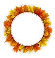 round frame autumn leaves white background vector image vector image
