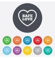 Safe love sign icon Safe sex symbol