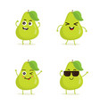 set of pear characters in different expressions vector image vector image