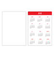 simple pocket calendar layout 2018 new year vector image