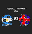 soccer game argentina vs iceland vector image vector image