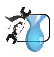 spanner in hand to plumbing vector image vector image