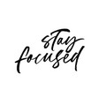 stay focused phrase modern calligraphy vector image vector image
