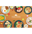 thai food on a wooden background vector image vector image