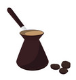turkish coffee pot and black coffee beans vector image vector image