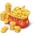 wallet full of coins vector image